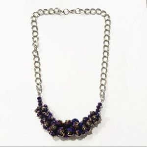 Purple cluster statement chunky chain necklace